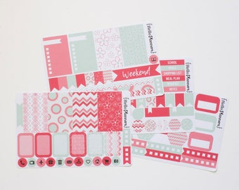 Planner Stickers / Weekly Kit / Pink & Mint Green Spring Floral / Vertical Planner Kit