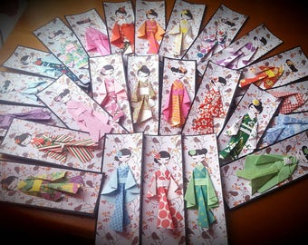 Elegant bookmark Geisha origami