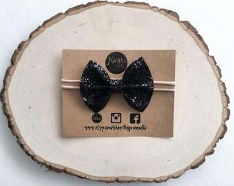 Black glitter bow headband | glitter bow | headband | New Years Eve | newborn | baby | toddler | girl | photo prop | black headband