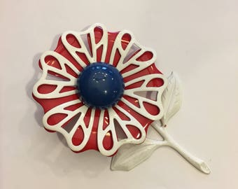 Red White and Blue Enamel Flowel Pin