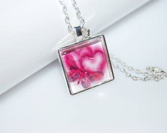 Necklace hearts Cabachon square double heart of silver-plated glass pendant PaperArt