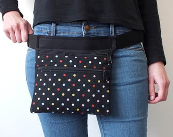 Dots fanny pack, two pockets bag, women waist bag, travel pouch, black fabric bag