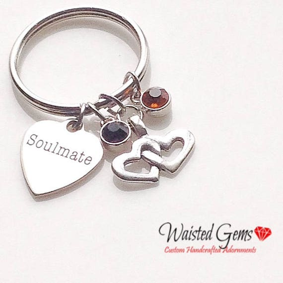 Soulmate Custom Charm Keychain, Birthday Gifts, Fathers Day Gift, Graduation Gift, Inspirational Gift zmw9.13