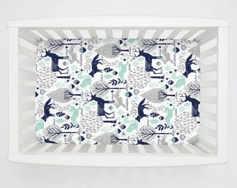 Boy Baby Bedding / Girl Baby Bedding / Neutral Baby Bedding : Navy and Mint Woodland Animals Mini Crib Sheet by Carousel Designs