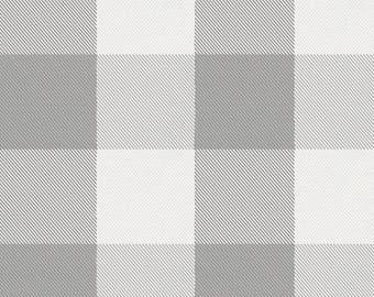 Gray Buffalo Check Organic Fabric - By The Yard - Boy / Girl / Neutral