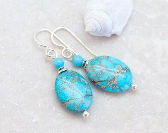 Turquoise Impression Jasper Earrings, Variscite Earrings, Natural Stone Earrings, Turquoise Earrings, Sterling Silver, Amazonite Earrings