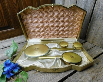 Vintage Matching Hand Mirror, Comb and Brush Set, 2 Vanity Jars - Vanity Set - Original Box