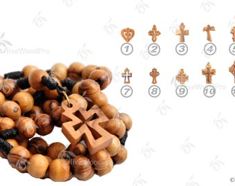 HolyLand Olive wood rosary necklace beads black cord rope special carved cross