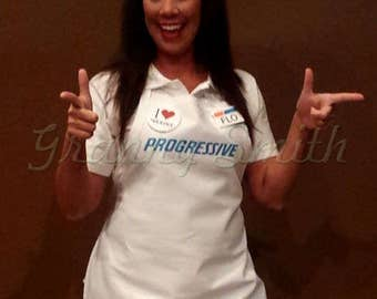 "Adult ""FITTED"" and NOT ""one size fits most"" Flo Progressive Insurance Apron, Name Badge + Pin + Headband. Ask for kids sizes!"