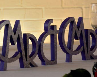 Mr and Mrs Table Sign, Dark Purple Centerpieces, Mr and Mrs Sign, Mr and Mrs Letters, Wedding Sweetheart Table Decor