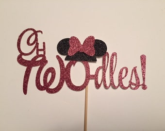 oh TWOdles cake topper/Minnie Mouse cake topper, Photo Shoot, Oh Toodles pink and black red and black girl