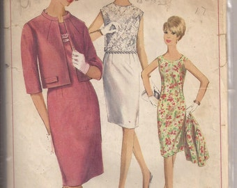 Simplicity 6402 Misses Dress, Jacket and Overblouse Pattern, Size 12, Bust 32. Vintage 1966