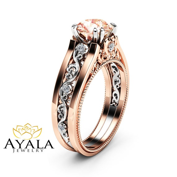 Unique Morganite Engagement Ring 14K Rose Gold Morganite Ring