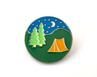 Lets sleep under the stars! Camping enamel pin.