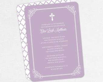 Baptism Invitation, Christening Invitation, Girl Baptism, Printable Baptism Invitation, PDF, DIY Invitation, Modern, Classic, Purple, Elise