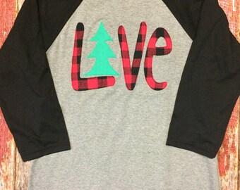 Christmas tree LOVE Baseball tee - Buffalo Plaid Christmas shirt - Christmas shirt - Christmas Love
