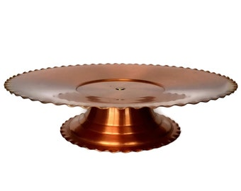 Copper Lazy Susan, Hand Wrought Copper Pedestal Tray, Fantasy Turntable, Appie Server, 1960s