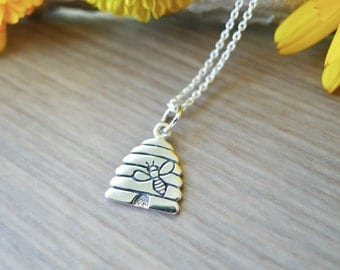 Bee Necklace, Sterling Silver, Beehive Necklace, Bee Jewelry, Silver Beehive, Beehive Pendant, Little Beehive, Save the Bees, Bee Hive