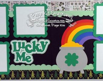 Scrapbook Page Kit Layout Lucky Me Saint Patrick Boy Girl Baby 2 page Scrapbook Layout Kit 97