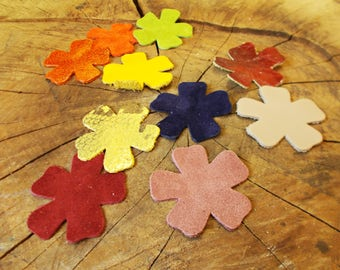 Assorted leather flowers, Jewelry supplies, Accessories, Assorted colors, Flowers, Applique, Decorations, Leather supplies