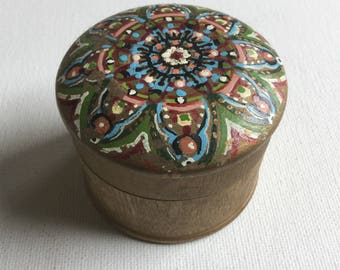 Small jewelry trinket box gold gilded wood hand painted vintage