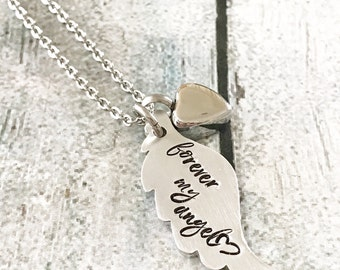 Memorial necklace - Hand stamped necklace - Custom necklace - Loss of loved one - Commemorative necklace - Forever my angel