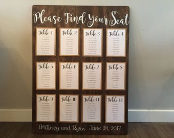Wedding Seating Chart - wooden seating chart - wooden wedding seating chart - seating chart