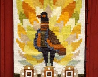 "Ingegerd Silow Flat Weave, Swedish Rölakan Rug ""Paradis"", Large Kelim Kilim Like Wool and Linen Carpet, Handwoven, 1960s Nordic Fiber Art"