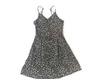 Vintage Animal Print Zip Up Rayon Tank Dress