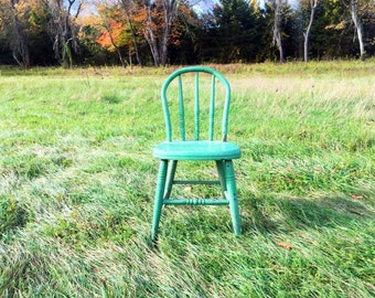 Child Sized Green Rustic Chair