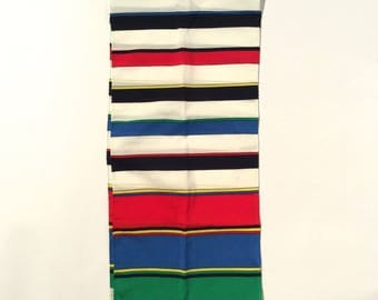 Vintage 1970s Long Red White Green Primary Colors Striped Scarf by Nasharr