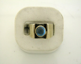 Sterling Silver ring with blue topaz cabuchon size 9