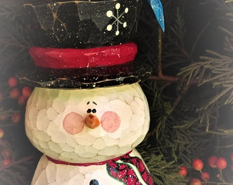 Carved Snowman with Bluebird on Hat