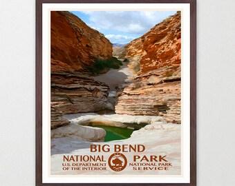 Big Bend National Park - Big Bend Poster - Big Bend National Park Art - National Park Poster - WPA - WPA Poster - Texas Art - Rio Grande