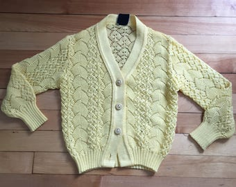 Vintage 1970s Girls Yellow Lace Knit Sweater Cardigan! Size 5-6