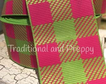 "1.5"" Preppy pink and green Christmas Outdoor BUFFALO PLAID Grosgrain Ribbon sold by the yard"