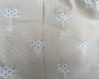 Beautiful vintage French decorator fabric topiary amx tan gorgeous 3 yards