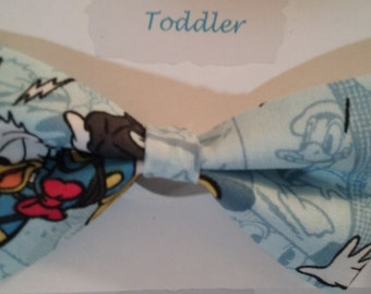 Donald Duck  Print Fabric Boys Elastic Bow Tie  Ages 4-6 Ready to Ship!