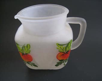 Federal glass star pitcher. vintage frosted glass pitcher with handpainted tomato motif. 1940s Mid Century kitchen decor collectible