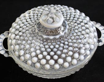 Anchor Hocking Hobnail Moonstone Bowl with Lid and Handles * Opalescent Covered Compote * Opal Glass Candy Dish Candy Jar * Wedding Decor