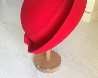 Vintage red wool hat with a bow