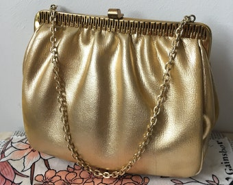 1960s Gold Evening Purse With Chain and Decorative Gold Trim and Clasp-GC