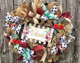 Everyday Welcome Wreath, Welcome Wreath, Front Door Welcome Wreath, Animal Print Wreath, Housewarming Wreath, Burlap Deco Mesh, Wedding Gift
