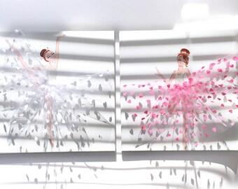 Little Dancers Nursery Art Set, Girl's Room Decor, Ballerinas in Pink and White Tutus, Ballet Dancers Painting, Cute Ballerina Nursery Decor