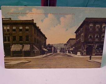 Vintage RPP  Postcard 1911 Homewood Pa.  Homewood Ave. from Frankstown Ave.