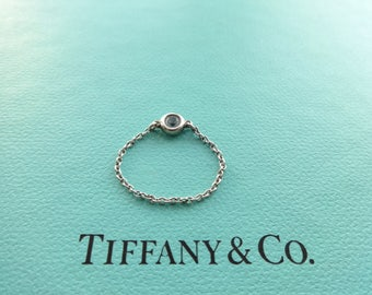 Authentic Tiffany & Co. Elsa Peretti Sterling Silver Gemstone by the Yard with Round Aquamarine Ring, 5.0