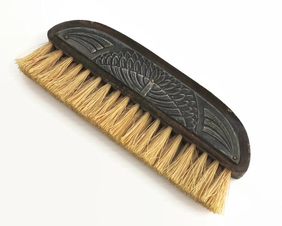 Art Deco pewter and wood clothes or shoe brush with natural boar bristles, man's grooming aid, circa 1920s / 30s
