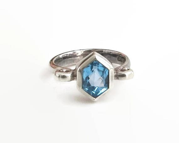 Sterling silver blue topaz ring, faceted 6 sided topaz in sterling silver bezel setting with curls at the sides, stamped 925, circa 1980s