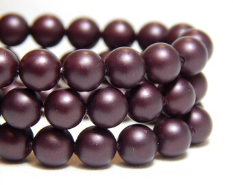 6mm Burgundy Shell Pearls, 6mm Wine Beads, 6mm Burgundy Beads, Matte Burgundy Beads, Merlot Beads, 6mm Shell Pearls, Frosted Beads, B-57E