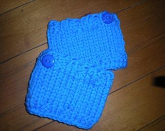 Girl's Handknit Boot Cuffs, Girl's Blue Boot Cuffs, Knit Boot Cuffs